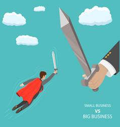 Small business vs big flat isometric concept vector
