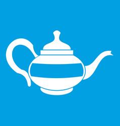 Teapot icon white vector
