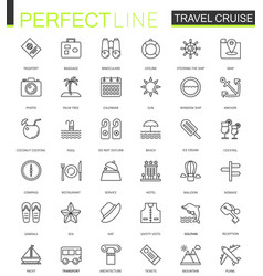 Travel cruise thin line web icons set outline vector