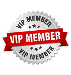 Vip member round isolated silver badge vector