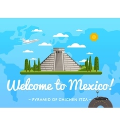 Welcome to mexico poster with famous attraction vector