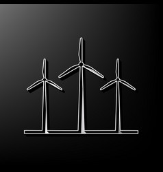 Wind turbines sign gray 3d printed icon vector