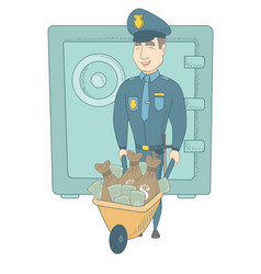 Young caucasian policeman with confiscated money vector