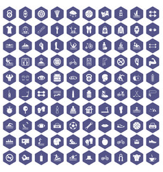 100 men health icons hexagon purple vector