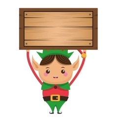Happy cute christmas elf icon vector