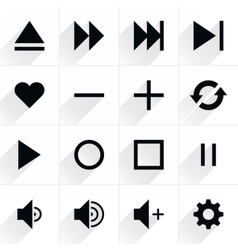 Media control sign flat icon vector