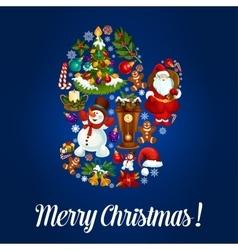 Santas glove for christmas greeting poster design vector