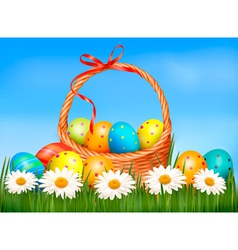 Easter background Easter eggs and flower with vector image