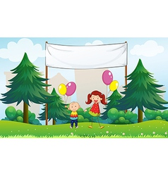 Happy kids with balloons below an empty signage vector