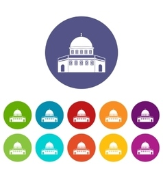 Dome of the rock on the temple mount set icons vector