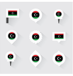 libya flag and pins for infographic and map design vector image
