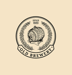 kraft beer barrel logo old brewery icon lager vector image