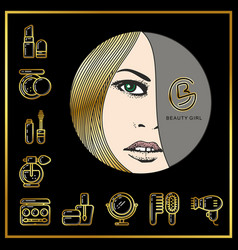 Beautiful face of girl with golden hair and vector