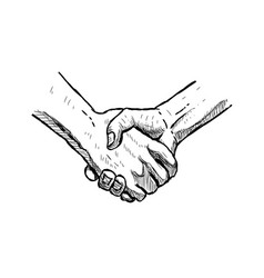 Hand drawn handshake isolated sketch vector