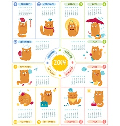 Calendar 2014 with cute cats vector