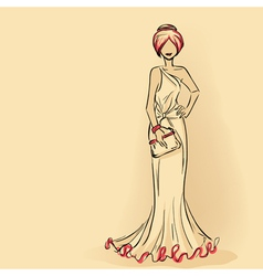 Elegant lady in evening dress with clutch vector