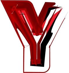 Artistic font letter Y vector image