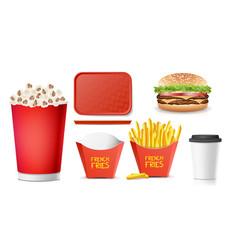 3d fast food tasty burger hamburger vector image vector image
