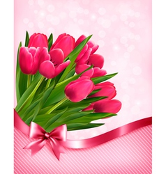 Pink tulips beautiful background vector