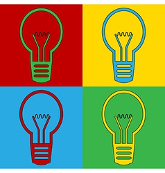 Pop art light bulb icons vector