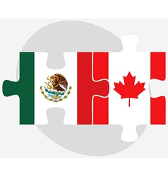 Mexico and canada flags in puzzle vector