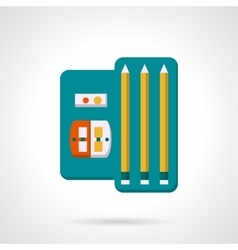 Pencils and sharpenet set flat icon vector image