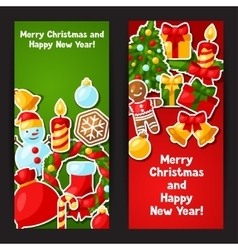 Merry christmas and happy new year sticker banners vector