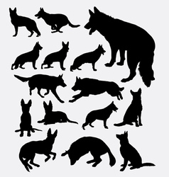 German shepherd pet dog silhouette vector image