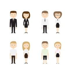 Set of diverse people on white background vector