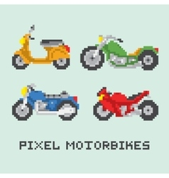 Pixel art style motorbike isolated set vector