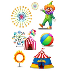 A clown with the different things in a carnival vector image