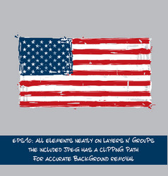 american flag flat - artistic brush strokes and vector image vector image