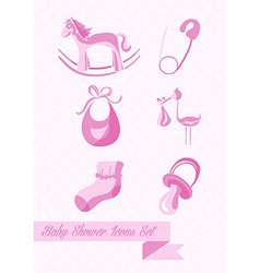 Baby shower girl icons set design vector image vector image