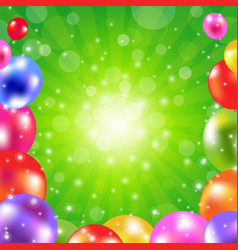 birthday green sunburst poster vector image