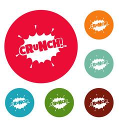 Comic boom crunch icons circle set vector