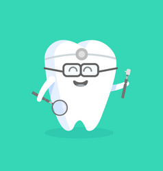Cute cartoon tooth character with face eyes and vector