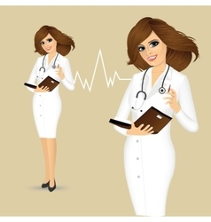 Doctor writing something in planner vector