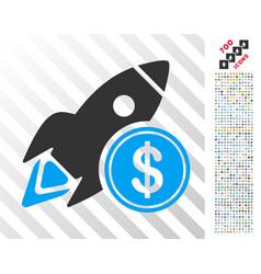 dollar rocket flat icon with bonus vector image vector image