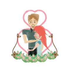 Drawing couple embracing love heart floral vector