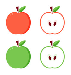 flat design green and red apples vector image