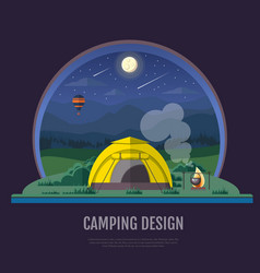 Flat design of mountains landscape and camping vector