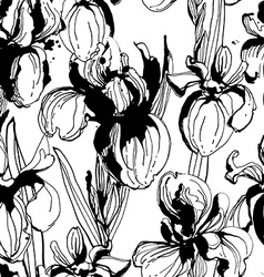 Floral flower iris seamless hand drawn pattern vector image vector image
