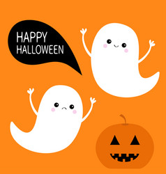 Flying ghost spirit set pumpkin smiling face vector
