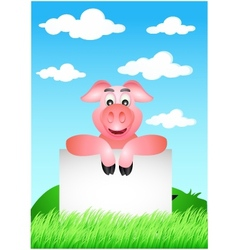 Funny pig cartoon with blank sign vector