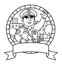 Funny policeman coloring book or emblem vector
