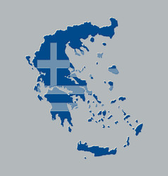 greece map with the greek flag vector image