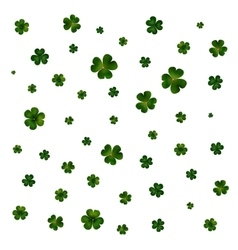 Green clovers on white decoration for St Patricks vector image
