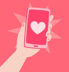 Hand Holding a Phone with a Heart Inside vector image