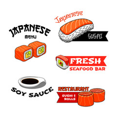Icons for japanese restaurant or sushi bar vector