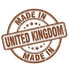 made in united kingdom brown grunge round stamp vector image